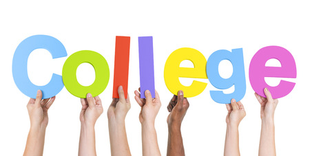 Diverse Hands Holding The Word College photo