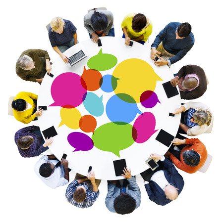 Group of Diverse People Social Networking With Digital Devices photo