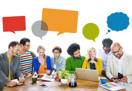 Diverse People Discussing About New Ideas Stock Photo