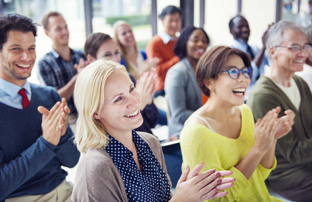 Group of Multiethnic Cheerful People Applauding Reklamní fotografie - 28863364