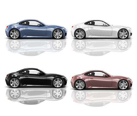 Collection of Multicolored 3D Modern Cars 스톡 콘텐츠