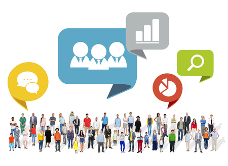 communication concept: Large Group of Multiethnic People with Social Media Symbols Stock Photo