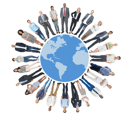 global communication: Multiethnic Group of People with Global Communication Stock Photo
