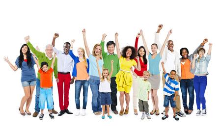 people: Multi-Ethnic People Arms Raised