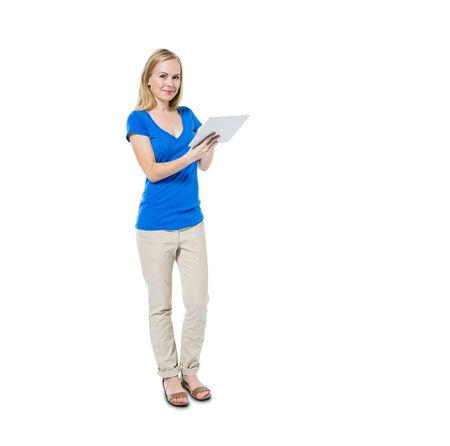 Vrolijke Toevallige Vrouw die digitale tablet
