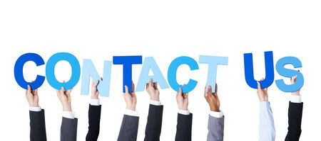 contact us business: Multiethnic Business People Holding Contact Us