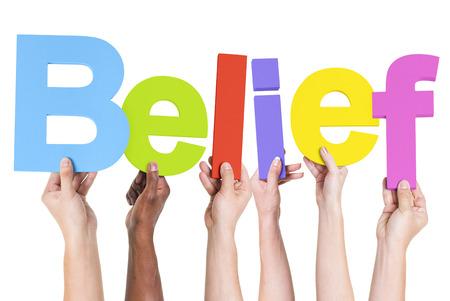believing: Multiethnic Group of Hands Holding Belief