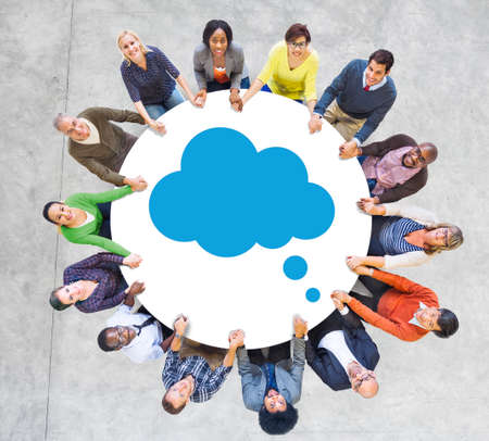 Group of People and Cloud Symbol photo