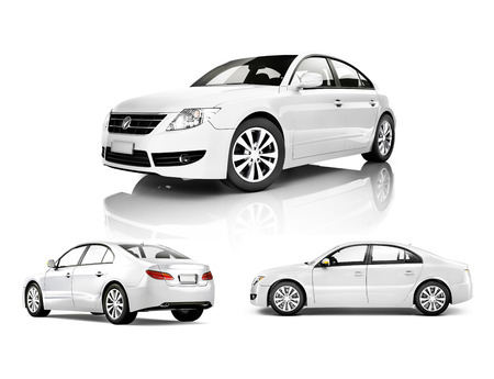 白い車の三次元画像