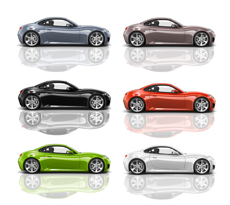 Collection of Multicolored 3D Modern Cars Stock Photo