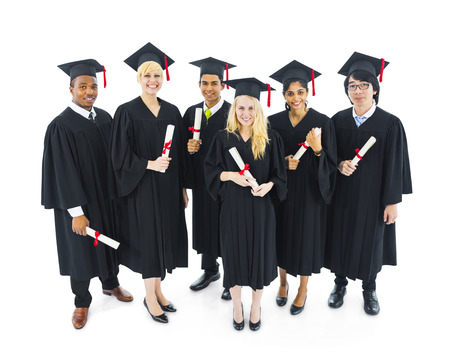Group of cheerful and succesful graduating students