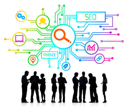 Silhouettes of Business People and SEO Concepts photo
