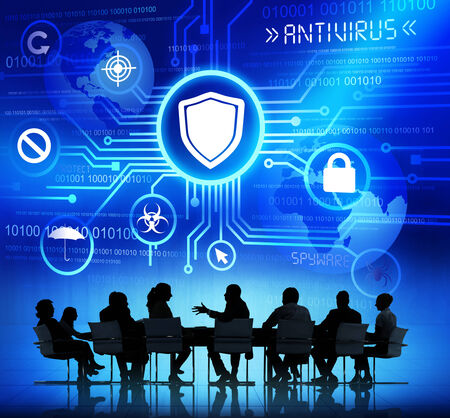 Group of Corporate People having a Meeting about Protection from Viruses photo