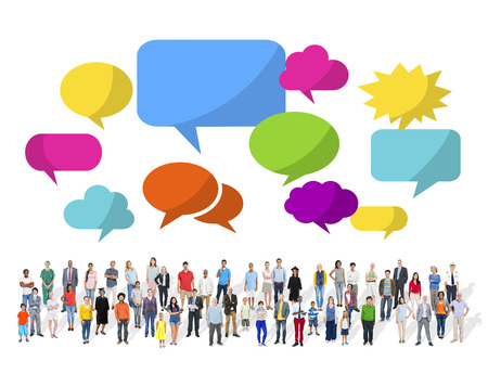 Large Group of Multiethnic People with Speech Bubbles Reklamní fotografie
