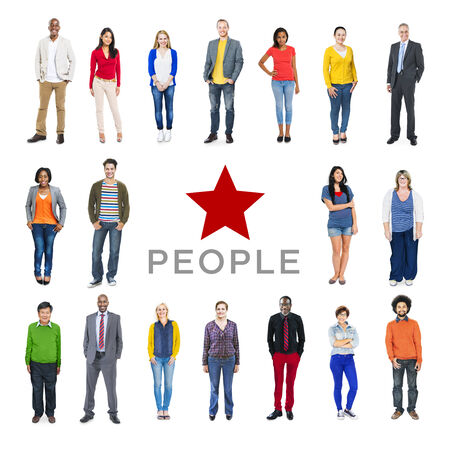 businessman standing: Group of Multiethnic Diverse Colorful People Stock Photo