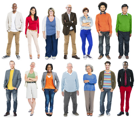 full length: Full Length van Diverse Multi-etnische mensen in een rij