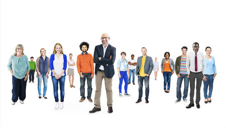 standing out of the crowd: Group of Multiethnic Diverse Cheerful People Stock Photo