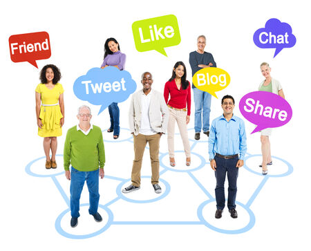 socially: Group of Multi-Ethnic Socially Connected People with Speech Bubbles Above Them