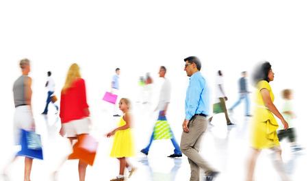 bewegung menschen: Gruppe verschiedene Busy People Einkaufen Lizenzfreie Bilder