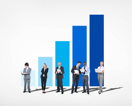 sales team: Group of business people with graph