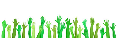hands raised: Green Environmental Conscious Hands Raised Stock Photo