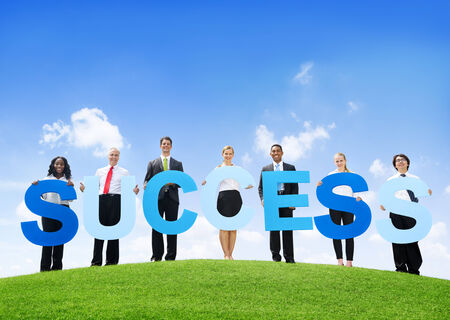 Business People Holding Text Success Outdoors photo