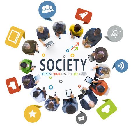 social gathering: Multiethnic People Social Gathering with Social Media Symbols