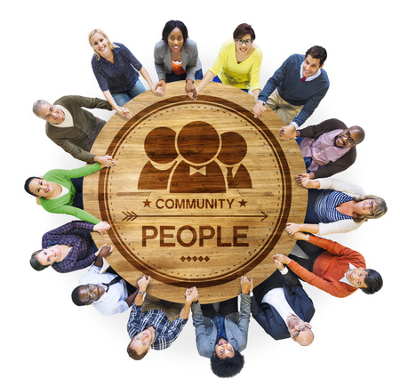 Diverse Multiethnic People in a Circle Holding Hands photo