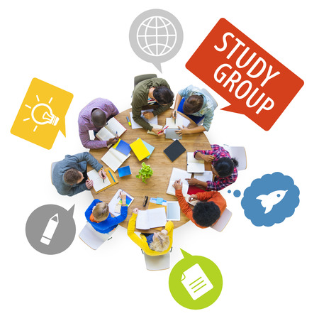 Group of Multiethnic Students Studying with Speech Bubbles photo