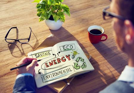 Zakenman met Energy and Environmental Concept Stockfoto