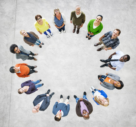 Aerial View of Multiethnic People Forming Circle photo