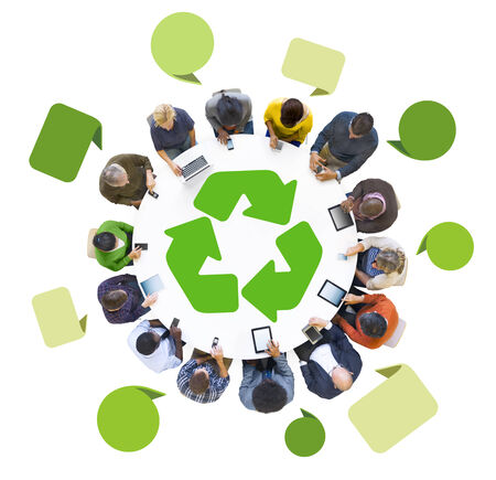 Group of People Using Digital Devices with Recycle Symbol  photo