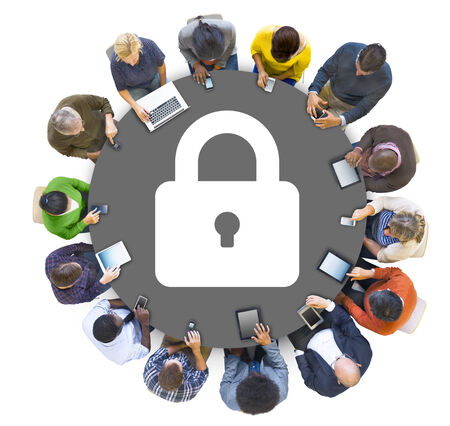 Group of Multiethnic People Using Digital Devices with Security Concept photo