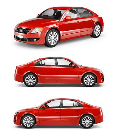 Drie Rode Sedans op een Rij