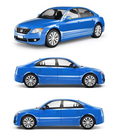 Drie Blue Sedans op een Rij