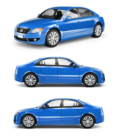 car front view: Three Blue Sedans in a Row Stock Photo