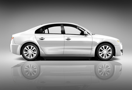 Side view studio shot of white car