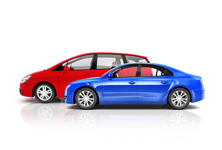 3D Multi Colored Set of Cars photo