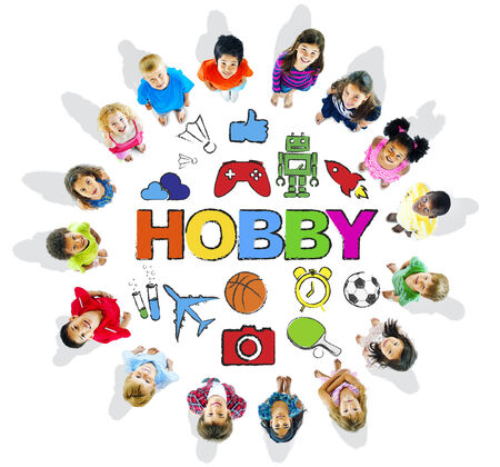 child looking up: Multi-Ethnic Children Forming a Circle with Hobby Concept Stock Photo