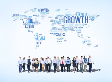 muti: Group of Business People with Global Business Concept