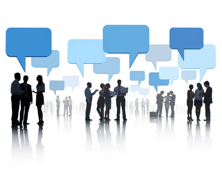 social gathering: Business People with Speech Bubbles in Social gathering