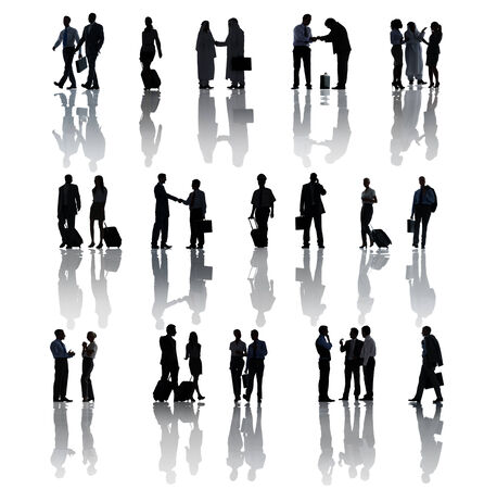 Multi-Ethnic Group Silhouettes Of Business People On White photo