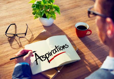 aspirations: Businessman Brainstorming About Aspirations Stock Photo