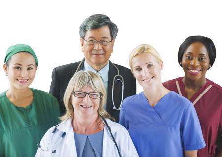 Multi-etnische groep van artsen Stockfoto