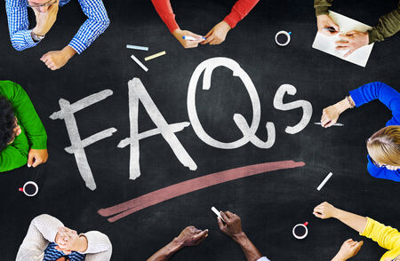 faq's: People Working and FAQs Concept Stock Photo