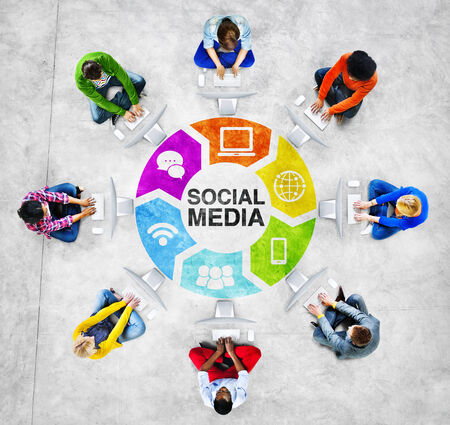 downloading content: People Social Networking and Social Media Concept Stock Photo
