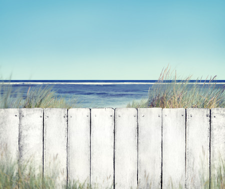 fence: Beach and Fence with Seascape