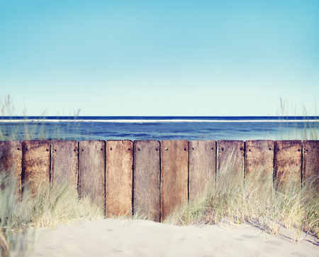 Beach and Wooden Fence photo