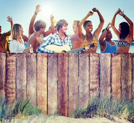 Multi-Ethnic Group of People Partying Outdoors photo
