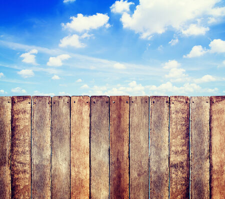 wood fence: Wooden Fence with Cloudscape